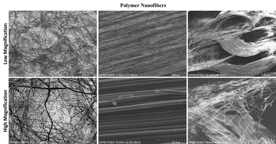 Six panels of three different polymer nanofibers at low and high magnifications.