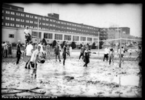 Students playing oozeball in front of Wadsworth Hall in Spring of 2000