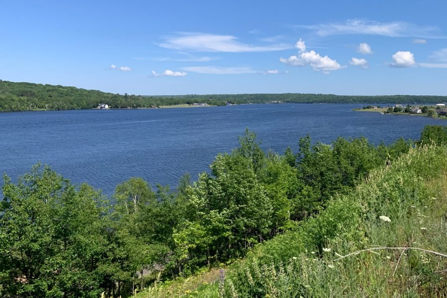 Summer photo of Portage Lake from Michigan Tech campus looking east.