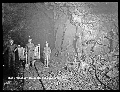 Underground miners at the Cliff iron mine in Ishpeming, ca. 1890s.  Image #MTU012-008-032, Collection MTU-012 Mining Engineering Photo Collection