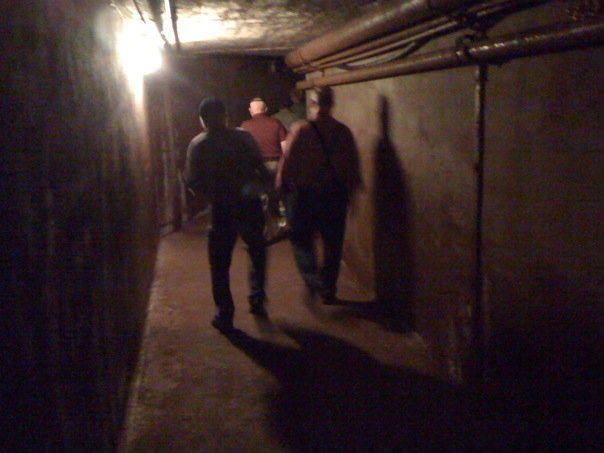 """Our tour took us through underground tunnels connecting the """"dry"""" to the C shaft. Tunnels provided nice protection from the harsh winter climate."""