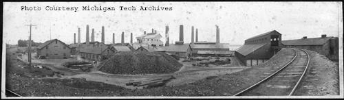 Calumet & Hecla Smelters, Lake Linden & Hubbell, ca. 1910. Photograph by J.W. Nara, image #Nara 42-017.