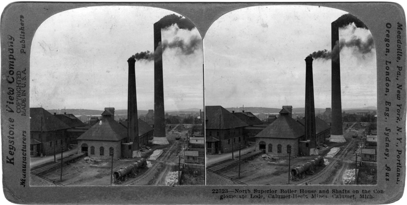 An example of a historic stereoview photograph, depicting the Calumet & Hecla Mining Company.