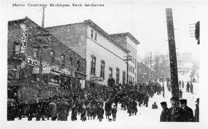 Based in Hancock, the Tyomies Publishing Company rallied strikers and their families during the 1913-14 copper miners' strike. Author Gary Kaunonen's new book explores the politics and culture of the working class Finnish immigrants who made a stand against the mining companies. This image from the Keweenaw Digital Archives (#400-12-13-1988-01-08-04) was taken in February 1914 near the end of the Copper Country's most violent labor strike.