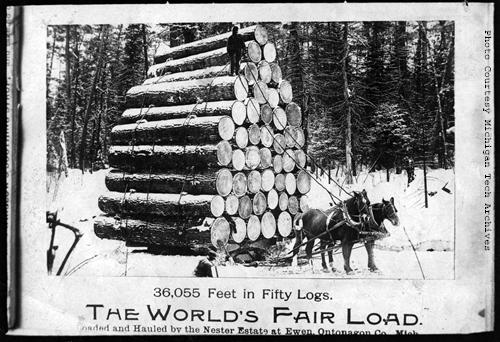 J.W. Nara sold copies of photographs as souvenirs. This image, copied from an unknown published source, shows a load of logs from Ewen which were displayed at the World's Fair.