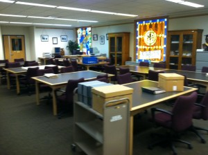 The current archives reading room, in the Garden Level of the Van Pelt and Opie Library.