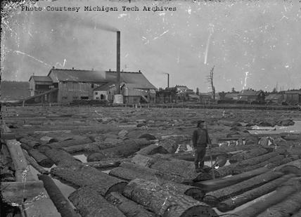 A glimpse of activity at Gregoryville Sawmill on Torch Lake, near Lake Linden.  (Photo available on the Keweenaw Digital Archives)