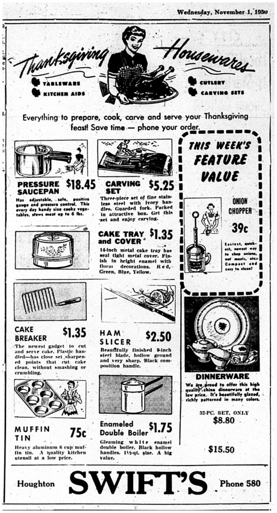Printed in the Daily Mining Gazette, November 1, 1950, page 2