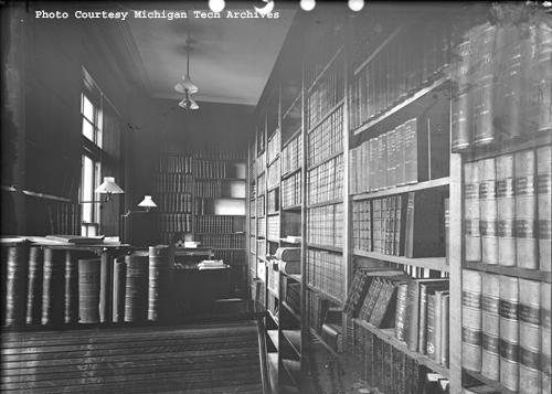 An early photograph of the library at the Michigan Mining School, now Michigan Technological University. Photo courtesy of the Keweenaw Digital Archives.