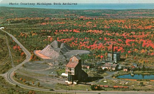 A postcard of the Ahmeek #3 and #4 shaft-rockhouse amongst the colors of autumn, 1964.
