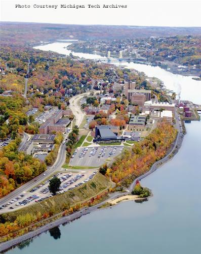 An aerial view of campus from 2007.
