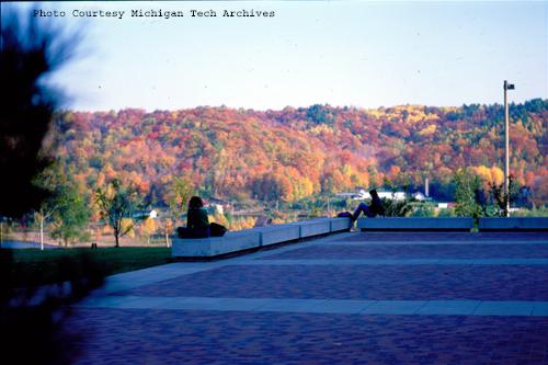 Two students enjoy the fall colors across the Portage Canal in the fall of 1983.