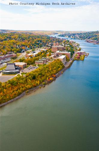 An aerial view of campus from fall 2009.