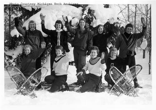 In his upcoming talk, visiting scholar David Brown will discuss campus traditions and their meaning, such as Michigan Tech's Winter Carnival. The photograph features Winter Carnival Queen Candidates from 1959.