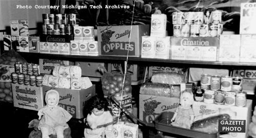 Goods collected for the Salvation Army's 1958 holiday food drive.