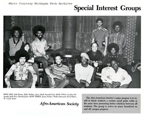Image of the Michigan Tech Afro-American Society, 1973.