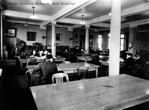 The Michigan College of Mines library reading room,  1920s or 1930s.