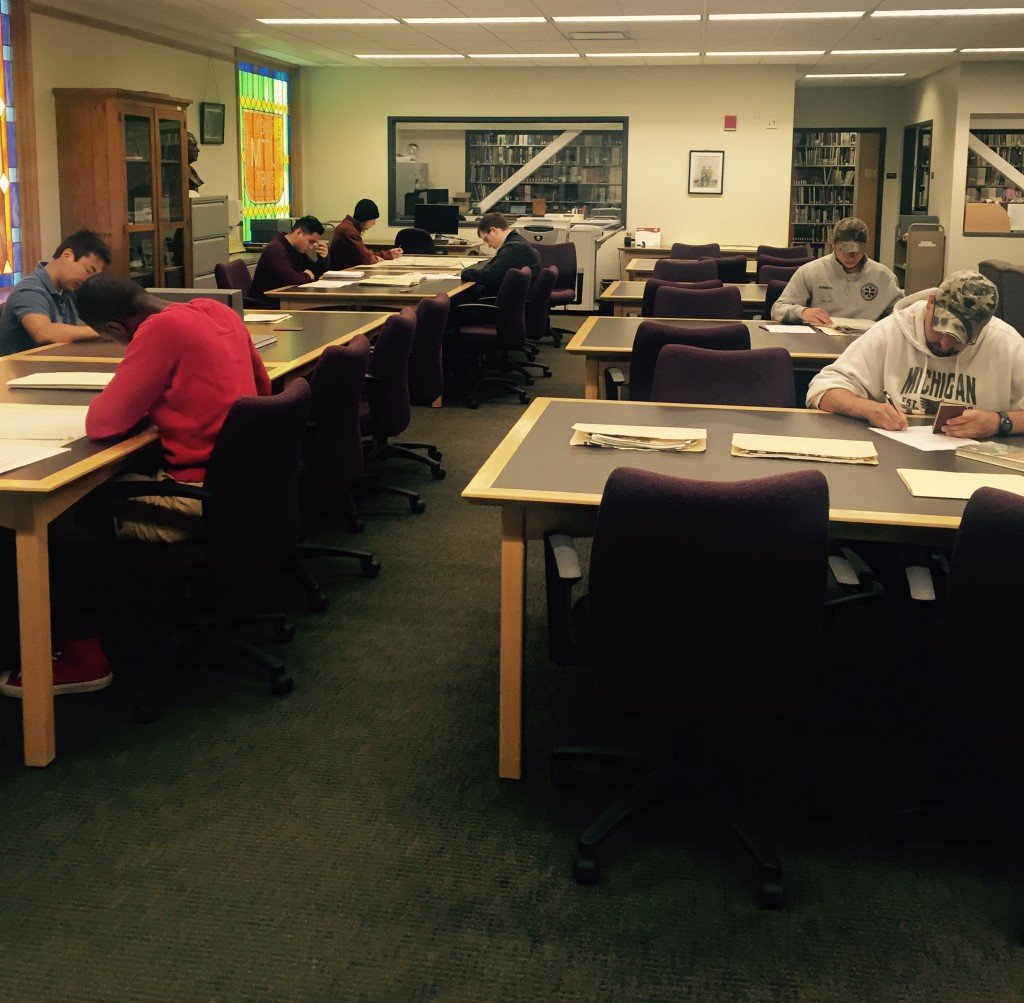 Students from SS 3540, History of Michigan, conducting research during a hands-on research workshop on June 2, 2016.