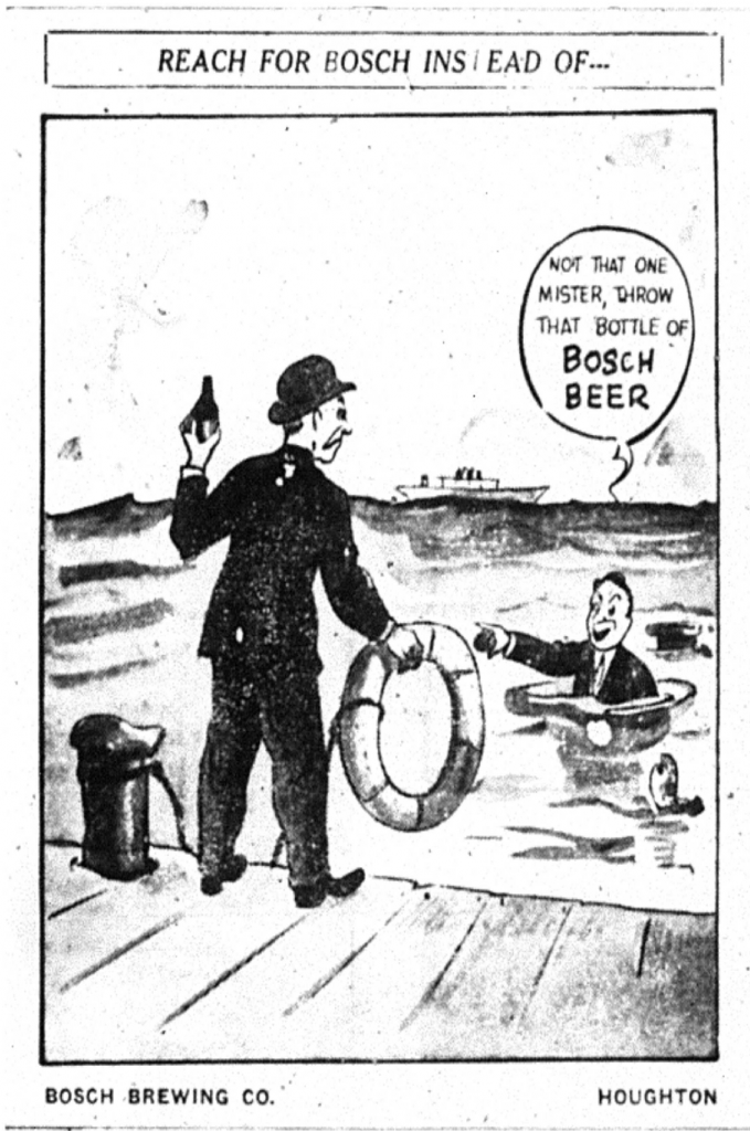 "A Bosch Beer advertisement, ""Reach for Bosch Instead of..."" from the Daily Mining Gazette, June 27, 1940."