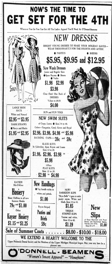 """Get Set for the 4th"" with ladies fashions from O'Donnel-Seamens. Daily Mining Gazette, June 27, 1940."