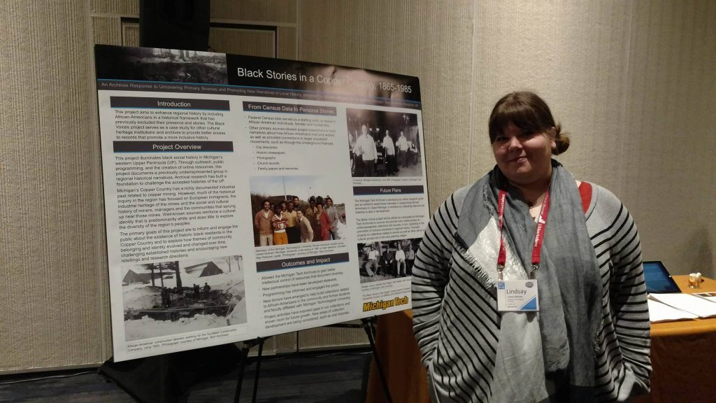 University Archivist, Lindsay Hiltunen presenting the Black Voices project at the National Council on Public History Annual Conference in Baltimore, MD, March 2016.
