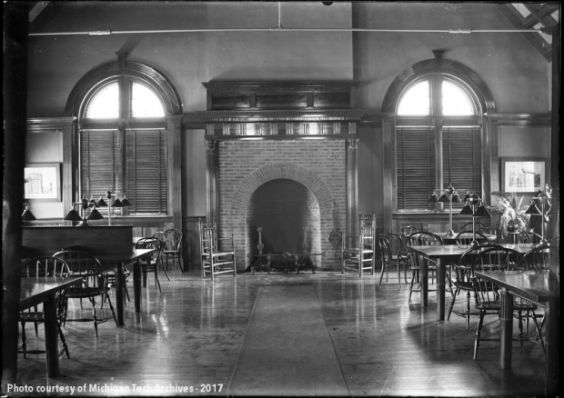 Historic photograph of the Calumet & Hecla Library in Calumet, Michigan. Date unknown.