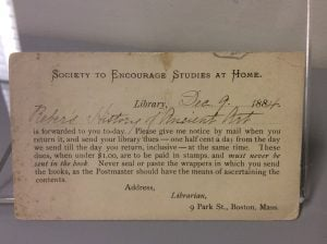 Resource request card to the Society to Encourage Studies at Home, 1884.