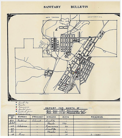 """Sanitary Bulletin"" prepared by Calumet & Hecla physicians in March 1910. Notice the color-coded key to the various illnesses whose occurrences doctors plotted on a map of the area."
