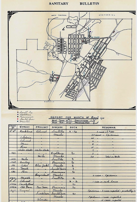 The April 1910 edition of the bulletin showed just how busy doctors had been in attending to what they acknowledged as an epidemic of measles. Notice how the house-by-house pinpointing of cases has given way to a summary of cases by street.