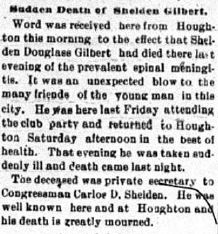 An obituary of Shelden D. Gilbert in the April 24, 1899 edition of the Copper Country Evening News.