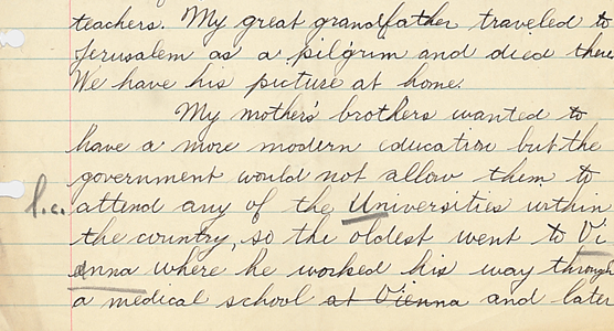 "Go across the ocean with me"": Student Essays on Family History from"