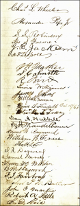 List of Signatures of the first Masonic Lodge in the Copper Country, including Jay A. Hubbell (about halfway down).