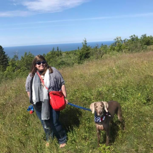 With my Weimaraner, Otto, on top of Brockway Mountain. July 4, 2017.