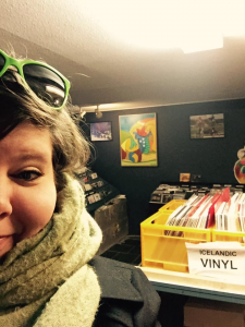 A selfie at 12 Tonar, an awesome record store in Reykjavik, Iceland, November 2016.