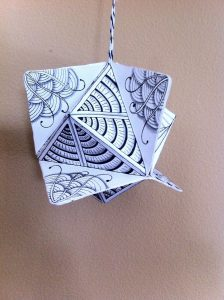A zentangle ornament that Georgeann made.