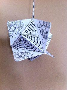 A zentangle ornament that Georgeann made.