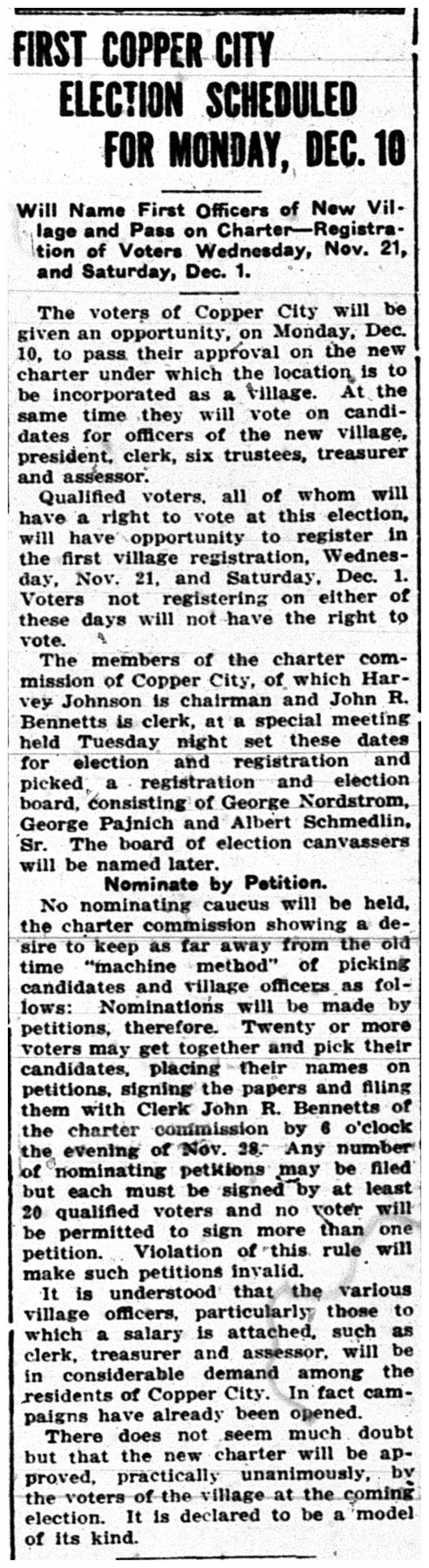 First Copper City Election, DMG - Nov. 15, 1917