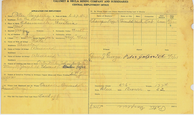 Sample Calumet & Hecla employment card.