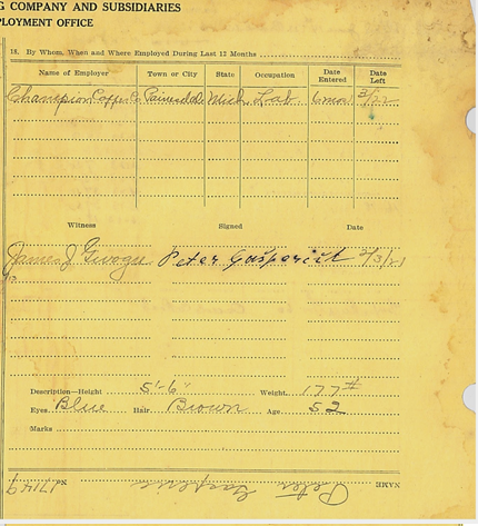 The right side of the front page of Peter Gasperich's C&H yellow employment card, which discusses his work history and physical appearance.