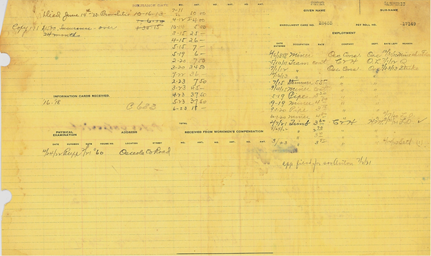 The back page of Peter Gasperich's Calumet & Hecla employment card, which looks at his relationship to the company and the finer points of his job history.