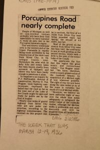 Headline about road construction to Lake of the Clouds. Image from the Roads (Pre-1979) folder, Copper Country Vertical Files, Michigan Technological University and Copper Country Archives.