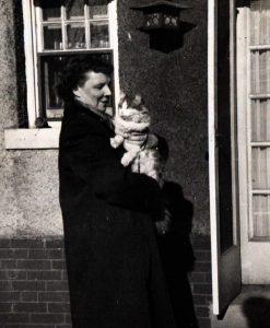 Ellen Carlson with cat, undated.
