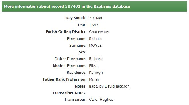 Table showing Cornwall OPC Database baptism record