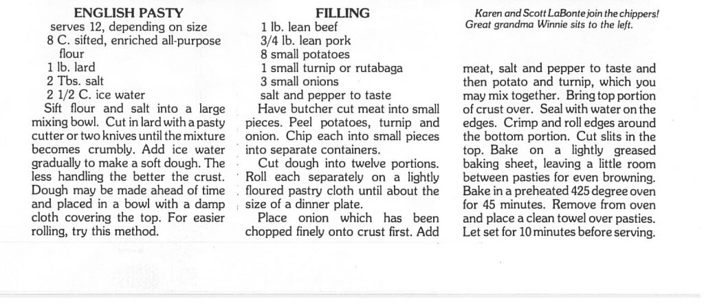 Text of pasty recipe