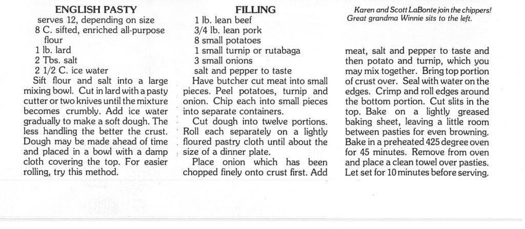 Text of pasty recipe