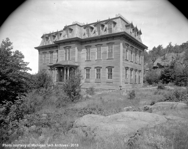 Photograph of shuttered Central Mine School