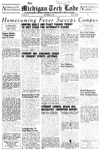 Front page, Michigan Tech Lode,  October 22, 1948.