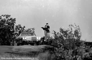 A couple enjoy Keweenaw Day on Brockway Mountain Drive, 1970.