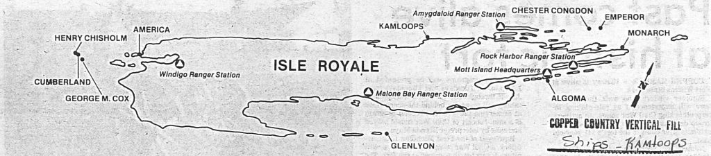 Map of Isle Royale shipwrecks