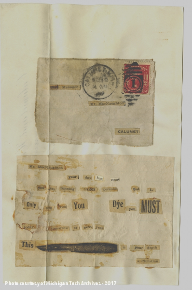 Image of letter cut from newspaper